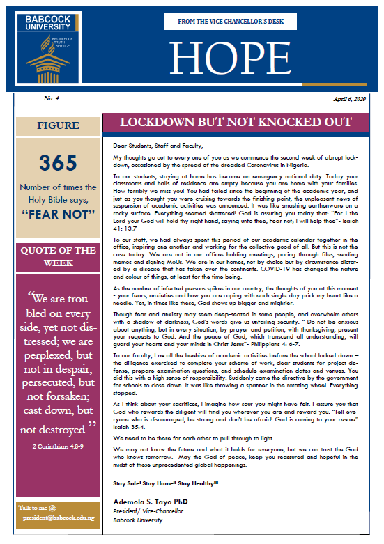 Hope Digest - Locked down but not knocked out