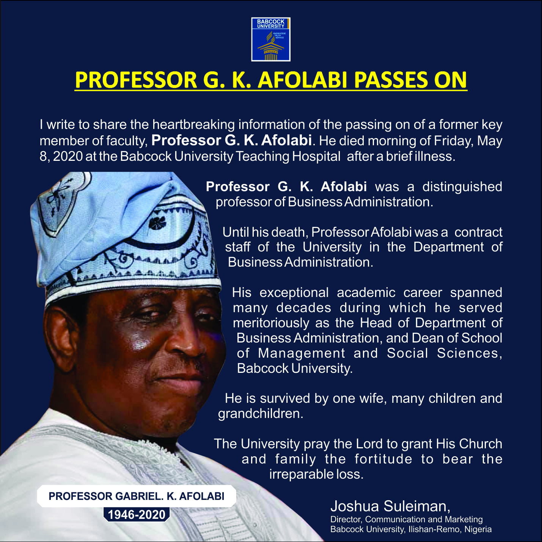 Prof. G.K Afolabi passes on