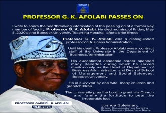 Prof. G.K Afolabi passes on