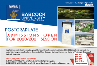 POSTGRADUATE ADMISSION INFORMATION FOR 2020/2021 SESSION
