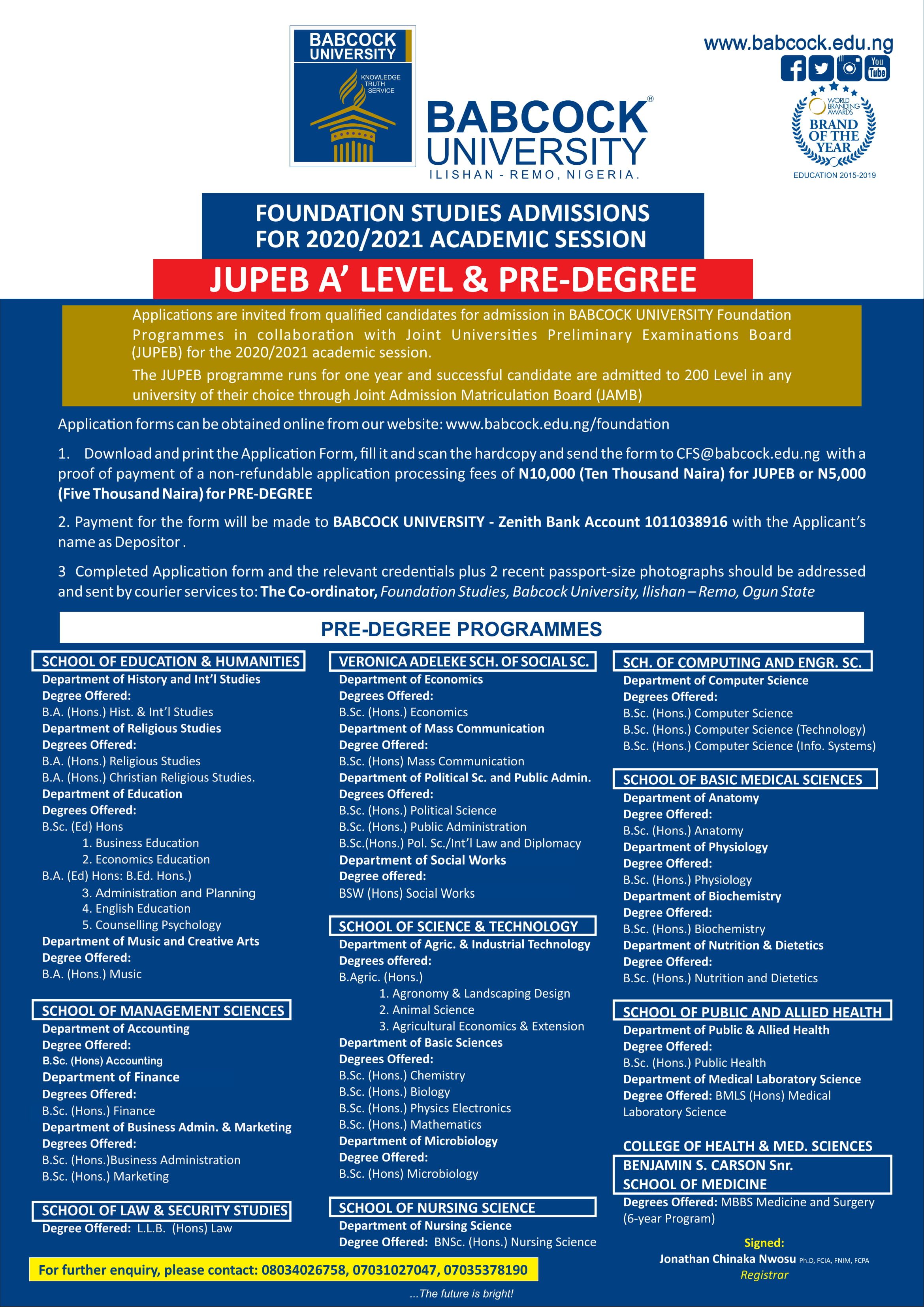JUPEB A'LEVEL and PRE-DEGREE Programs