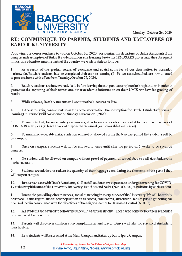 Communique to Parents, Students and Employees of Babcock University (October 26 2020)