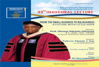 33RD Inaugural Lecture: From Small business to big business