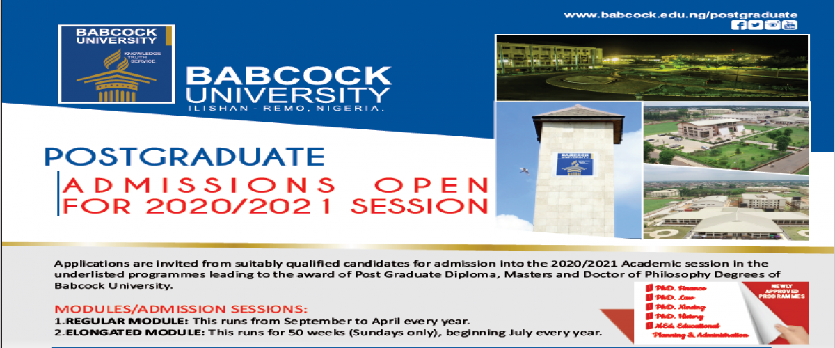 POSTGRADUATE ADMISSION INFORMATION FOR 2020/2021